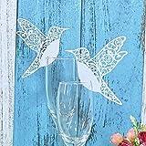 JZK 50 x Carte porte lieu table nom marque place décoration pour mariage douche bébé saint-communion fête d'anniversaire etc. (oiseau blanc sur verre à vin)