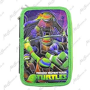 Estuche Turtles con accesorios verde 3cremallera