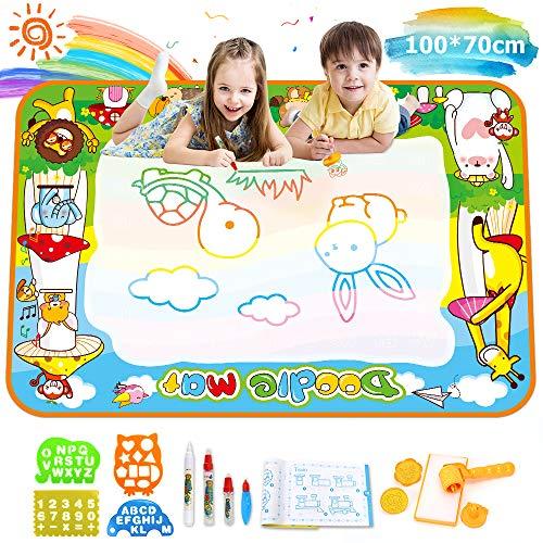 Ounuo Wasser Doodle Matte Aqua Doodle 100*70cm Zaubertafel Malmatte Wasser, mit 1 Malerroller, 4 Zeichenformen, 4 Stifte, 3 Stempel, 2 Schwamm, 1 Bilderbuch, Wasser Zeichnen Matte Drawing Painting Mat -