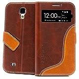 elephones S-View Handyhülle Samsung Galaxy S4 Hülle Schutzhülle Handytasche Case Cover Braun mit Stand Kartenfach