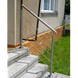 Edelstahl-Handlauf Geländer für Treppen Brüstung Balkon mit/ohne Querstreben (bis 2.5m inkl. 3 Pfosten 4 Querstangen)