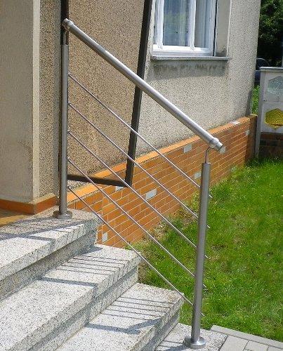 Edelstahl-Handlauf Geländer für Treppen Brüstung Balkon mit/ohne Querstreben (bis 1.0m inkl. 2 Pfosten 2 Querstangen)