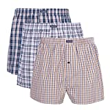 Picture Of VANEVER Cotton Men's Boxers, Woven Boxer Shorts, Men's Knit Boxer Briefs, Men's Plaid Boxershorts, Loose Fit Boxer Underwear, Everyday Guys Boxer Trunks, Button Fly Pattern Boxers, 3 Packs