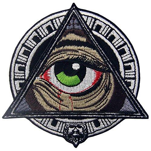 ZEGIN Aufnäher, bestickt, Design: Geometrische Muster der Mayas alle, die blutendes Auge sehen, zum Aufbügeln oder Aufnähen (Frau Kostüme Comic)