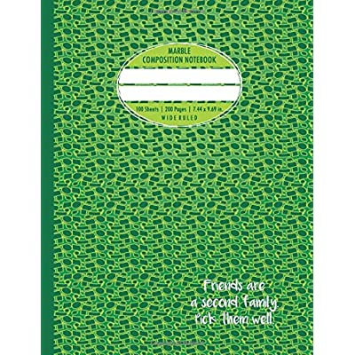 Marble Composition Notebook: 200 Pages Numbered For Students. Wonderful Green Speech Bubbles Pattern!
