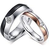 GINBL 6 مم الرجال الفولاذ المقاوم للصدأ مكعب زركونيا خواتم الزفاف 4 مم المرأة الخطبة الوعد الفرقة