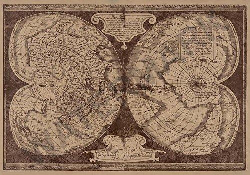 MERCATOR MAP DOUBLE CORDIFORM WORLD GIANT WALL POSTER ART PRINT LLF0561 -