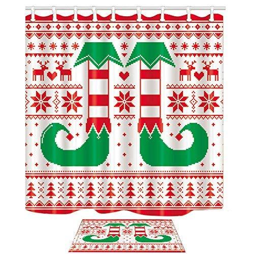 KOTOM Cartoon Elf Beine Vorhang für die Dusche 69X70'' 69x70'' Shower Curtain + Bath Mat (Dusche Vorhang Liner 180x70)