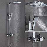 Duschsäule duschkopf regendusche set Drei Strahlerarten mit Wassertemperatur-LED Display Thermostat Duschset=Regendusche(19cm) + Handbrause(150cm) von STEO