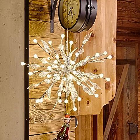Silberner Stern zum Aufängen oder Aufsetzen, Dm. 40 cm,100 LEDs warmweiß, Dauerlicht, Innen/Außen, Wohndeko,