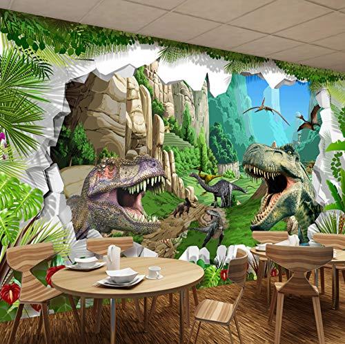 VVNASD 3D Wand Tapete Aufkleber Dekorationen Wandbilder Dinosaurier Wohnzimmer Hintergrund Kinderzimmer Schlafzimmer Hintergrund Kunst Mädchen Zimmer (W) 250X(H) 175Cm