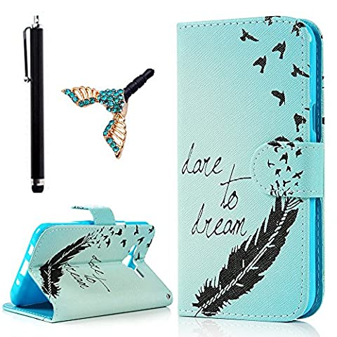 J5 Case, Flip Case for Samsung Galaxy J5 (2015 Version) - Lanveni Holster with Magnetic Button Elegant PU Leather Flip Wallet Case with Stand Protective Cover Bird Feathers + 1 Stylus + 1 Dust Plug,Not For 2016