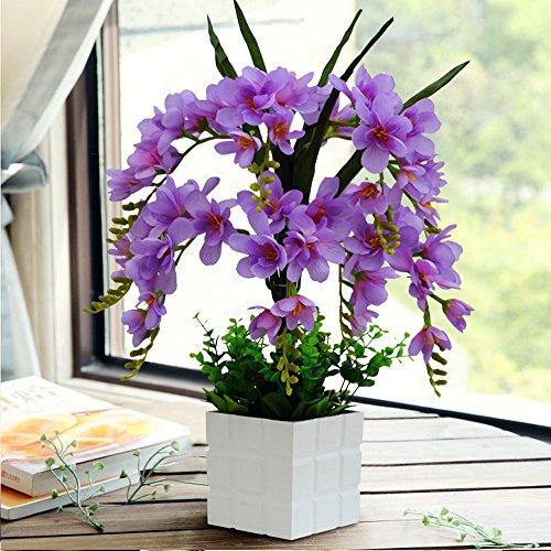 Jnseaol Kunstblumen Künstliche Blumen Orchidee Urlaub Geschenk Wohnzimmer Hochzeit Party Küche Nach Hause Eine Große Verzierung Plastiktopf DIY Blau-02