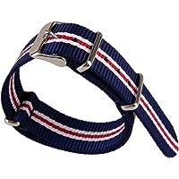 Blu Bianco e Rosso 3 Colori Stripe Pattern Nylon Tessuto Tela Band Tessuto Nylon Cinturino Orologio Esercito Militare…