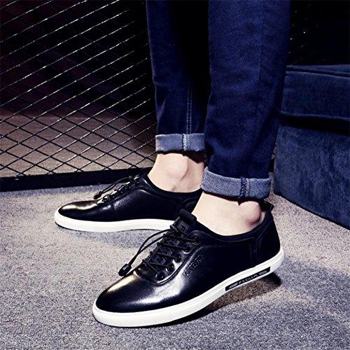 Chaussures de Conseil de cuir de la tête de ressort de loisirs mâles confortables chaussures respirantes Black