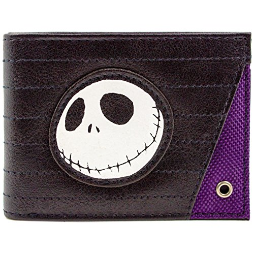 Cartera de Nightmare Before Christmas Jack Skellington Cosido Negro