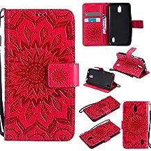 Funda Huawei Y625 /Huawei Ascend Y625 Case , Ecoway Girasoles patrón en relieve PU Leather Cuero Suave Cover Con Flip Case TPU Gel Silicona,Cierre Magnético,Función de Soporte,Billetera con Tapa para Tarjetas ,Carcasa Para Huawei Y625 /Huawei Ascend Y625 - rojo
