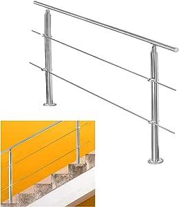 LZQ Edelstahl-Handlauf Gel/änder f/ür Treppen Br/üstung Balkon mit//ohne Querstreben 80cm, 3 Querstreben