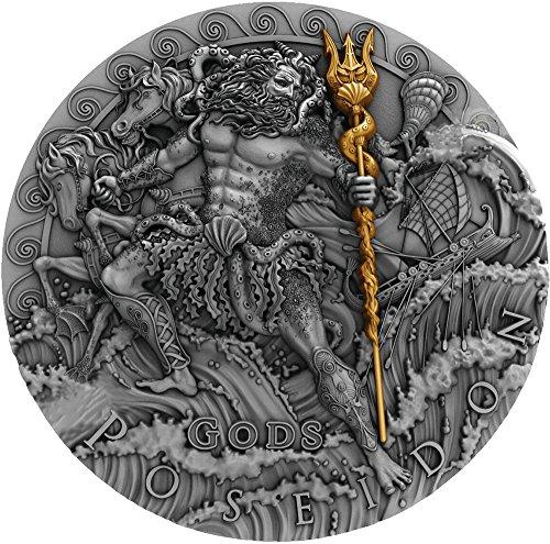 Sea Gods 2 Oz Silver Coin 2$ Niue 2018 (Poseidon Trident Spielzeug)