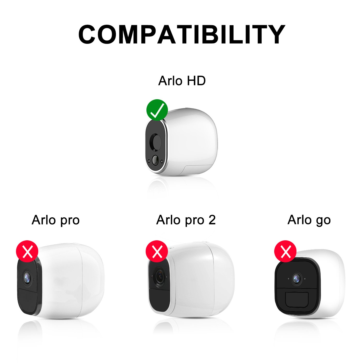eBoot Silicone Skins for Arlo HD Smart Security Wire-Free Cameras (3 Pack, Black)