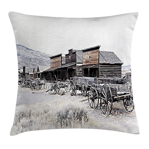 Western Throw Pillow Cushion Cover, Old Wooden Wagons from 20's in Ghost Town Antique Wyoming Wheels Artwork Print, Decorative Accent Pillow Case, 18 X 18 Inches, Brown White (Cat Wheel Company)