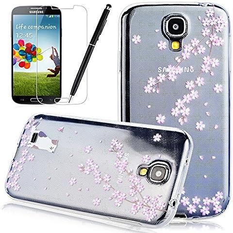 Galaxy S4 Coque HB-Int 3 en 1 Transparente TPU Housse Etui pour Samsung Galaxy S4 (GT-i9500 / i9505 LTE / i9502 Duos / Google Edition / S4 Value Edition GT-i9515 / SCH-i959) Originale Motif Coque Gel Silicone Souple Case Couverture Ultra Slim Cover Flexible Bumper [Crystal Clear] Protecteur Fonction Anti Choc Anti Slip Etui + Film de Ecran + Stylet - Chat et Fleur