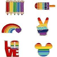 6 Pezzi Spille Arcobaleno, Gay Pride Pin, Spilla Smalto Arcobaleno, per Maglioni, Sciarpe, Abiti, Abiti e Indumenti Vari…