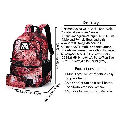 Mocha weir JIAYBL Laptop Taschen Schultern Kinder Schultaschen Rucksack Hochschule Mädchen Canvas Pack reisen (rot verlässt) rot