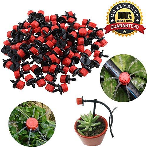 Tête de gicleurs d'irrigation, Shineus Plastique réglable Micro Drip irrigation Kits arroseurs Système émetteur pour jardin Lot de 100