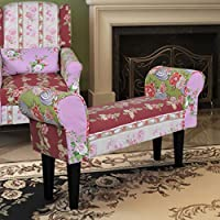 Lingjiushopping Banco Sofá Patchwork diseño floral estilo Pastorale dimensiones complessive Color 100x 32x 54cm (L x P x H) profondit ¨ ¤ Asiento: 32cm