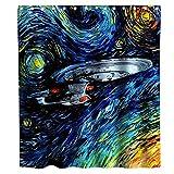 Seethetime Star Trek Enterprise Rideau de Douche en Tissu Motif Peinture à l'huile Noir/Bleu/Jaune 183 x 183 cm...