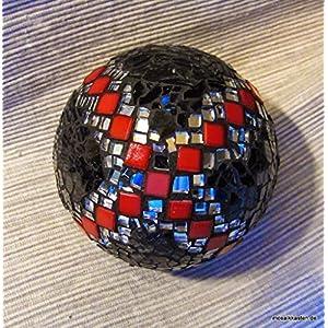 Handgefertigte Rosenkugel schwarz rot spiegel 11 cm Mosaikkugel Dekokugel