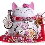 Maneki Neko - statue de chat japonais en porcelaine avec Luth (Grand Modèle) - feng shui porte-bonheur et tirelire