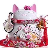Maneki Neko - gatto bianco giapponese feng shui fortunato con liuto (grande modelo) - porcellana fine, come un salvadanaio e portafortuna