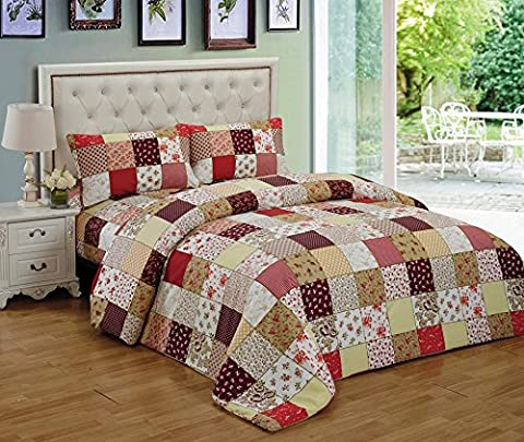 Multicolored Vintage Patchwork Quilted Bedspread Comforter Set Bed Throw with 2 Pillow Shams ® Riccardo Valeria (RVC Red)