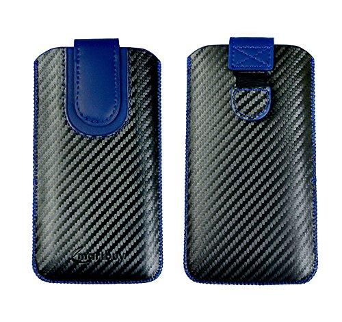 Emartbuy Scuro Grigio/Blu Carbonio Fibre Finish PU Pelle Custodia Case Cover Sleeve (Size LM4) con Linguetta Compatibile con Smartphone Elencati sotto