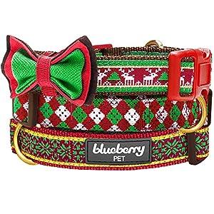 Blueberry Pet Collier Fête de Noël, Motif Jacquard Fair Isle Collier de Chien nœud détachable