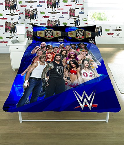 WWE 2K17 Face Vs Heel Single/Double Duvet Cover Bed Set – Reversible Panel Designs (Double Duvet Cover)