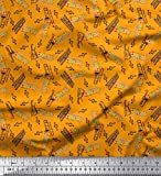 Soimoi Orange Baumwolle Batist Stoff Noten, Klavier &