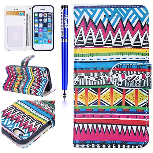 Custodia iPhone 6/iPhone 6s (4.7), EUWLY Flip Cover Leather Wallet Case Custodia per iPhone 6/iPhone 6s (4.7) in PU Pelle, Bling Bling Custodia Cover con Ultra Sottile Interno Silicone TPU Case Prot Modello Tribale