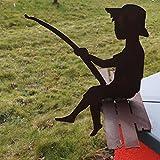 SAREMO Rost kleiner Angler FINN auf Steg als Kantenhocker, ca. 40 cm H