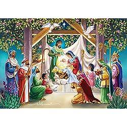 Reyes Magos en el pesebre tarjetas de Navidad–caja de 15tarjetas y 16sobres con forro de papel de aluminio