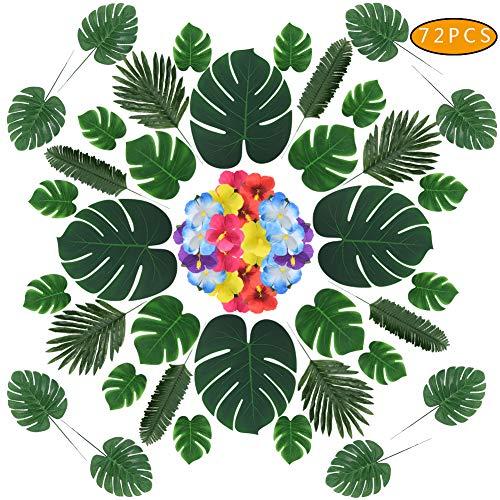 Tagaremuser 72 STÜCKE Künstliche Palmblätter 6 Arten Tropische Blätter Simulation Safari Blätter Faux Monstera Blätter Stängel mit Hibiskusblüten Set für Hawaiian Party Jungle Beach Theme Party -