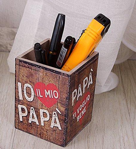 Vintage portapenne penna portapenne quadrato in legno di color letter craft multifunzione brush pot contenitore organizzatore da scrivania per ufficio cancelleria cosmetici supporto display