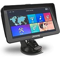 Jimwey GPS Navi Navigation für Auto LKW PKW KFZ mit Sonnenschutz 7 Zoll 8GB 256MB Kostenloses Kartenupdate Navigationsgerät mit POI Blitzerwarnung Sprachführung Fahrspurassistent 2018 EU UK 52 Karten