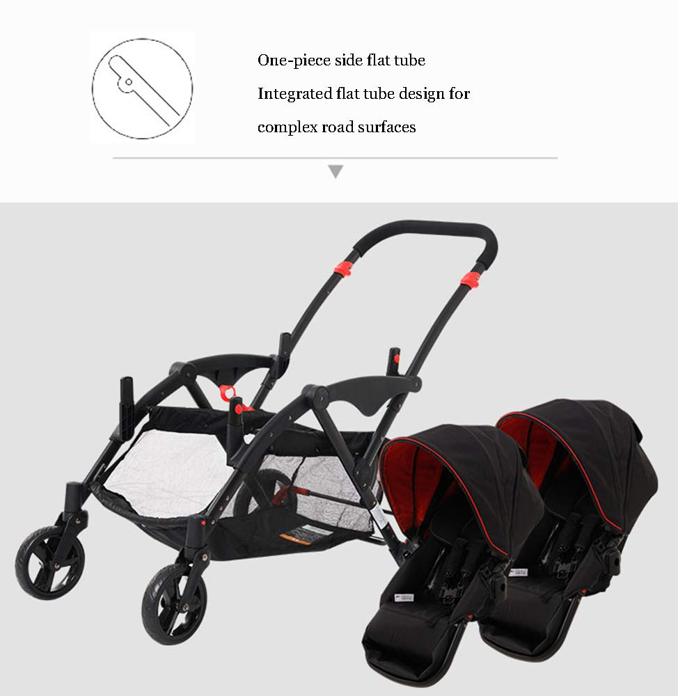 MYRCLMY Double Stroller Twins Baby Stroller,Can Sit And Detachable,Ultralight Portable Folding Backrest Push Handle Double Trolley Jogging Four-Wheel Four Seasons Universal,Black MYRCLMY *TWIN STROLLER: Getting everywhere with two little ones has never been easier, thanks to the Double Strollers; you can glide around town even when you only have one hand free to steer; you can even roll through a standard size doorway. *ADJUSTABLE BACKREST & CONNECTABLE SEATS :The backrest can adjust to fit baby's sleep posture to keep comfortable sleeping. Two seats can be connected to lengthen the seat. *SAFETY WHEELS & 5-POINT SAFETY BELTS:The springs in front wheels absorb shocks for easy to control direction and safety. The 5-point safety belt is equipped with each seat to ensure security while keeping your baby fit to the safety belt to feel comfortable. 4