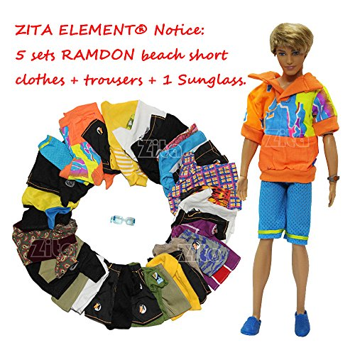 ZITA ELEMENT LOT 5 PCS MODA VERANO PLAYA CASUAL WEAR CLOTHES /OUTFIT FOR BARBIES BOYFRIEND KEN DOLL + 1 SUNGLASS ROPA DE MUñECA