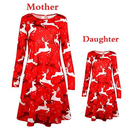 leider, GJKK Mutter und Töchter Lässig Weihnachten Santa Kleid Elegant Langarm Weihnachten Minikleid Party Kleid (Rot, Mutter) (Weihnachten Santa Kleid)