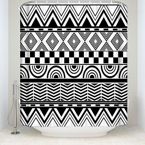 Fandim Fly Abstrakt Geometrische Muster, Navy Blau Gestreift Bad Vorhang Vorhang für die Dusche 36