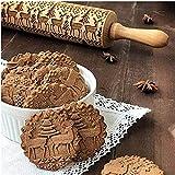 Prägeschablone, Weihnachts-Holzrollnadeln mit Gravur und Weihnachts-Symbolen zum Backen geprägt Kekse Minice Pies/Pfannkuchen Rolling Pin